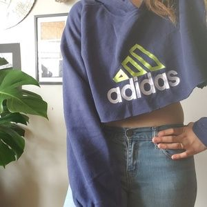 Vintage // Adidas spell out cropped hoodie